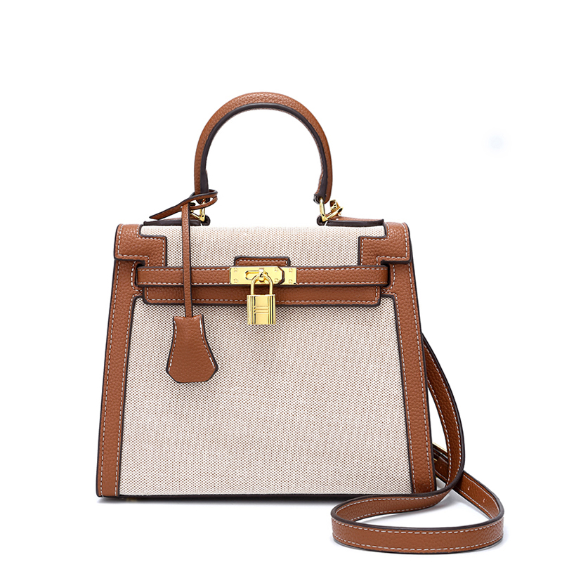 Women Canvas Bag Famous Brand Classic Style Bag Handbag Brown Canvas& Leather Stitching Gold Hardware Ladies shoulder Totes bag