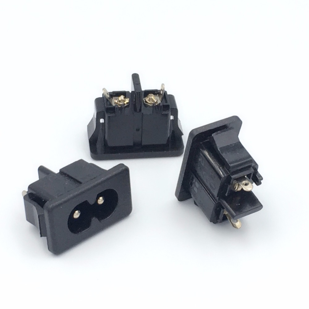 uxcell 5 Pcs AC 250V 2.5A IEC320 C8 Male Inlet Power Socket Connector Adapter Black