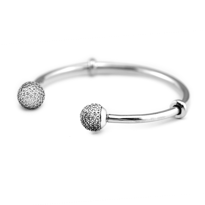Authentic 100% 925 Sterling Silver Sparkling Open Bangle with Clear CZ Caps Fits European Charm Beads Fine Jewelry Women Gifts