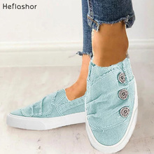 HEFLASHOR Women Shoes 2019 New Arrival Fashion Denim Casual Femme Tenis Feminino Canvas Sneakers