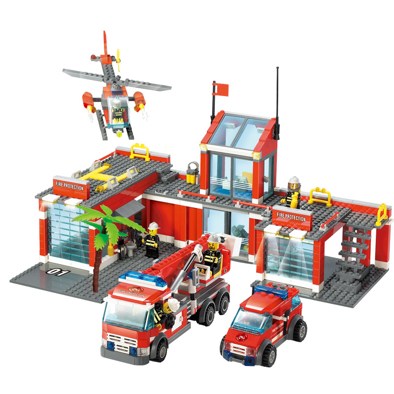 KAZI Fire Department Helicopter Action Model Building Block Set Brick Lepin Classic DIY Toys Gifts For Kids Safe Education jie star fire ladder truck 3 kinds deformations city fire series building block toys for children diy assembled block toy 22024