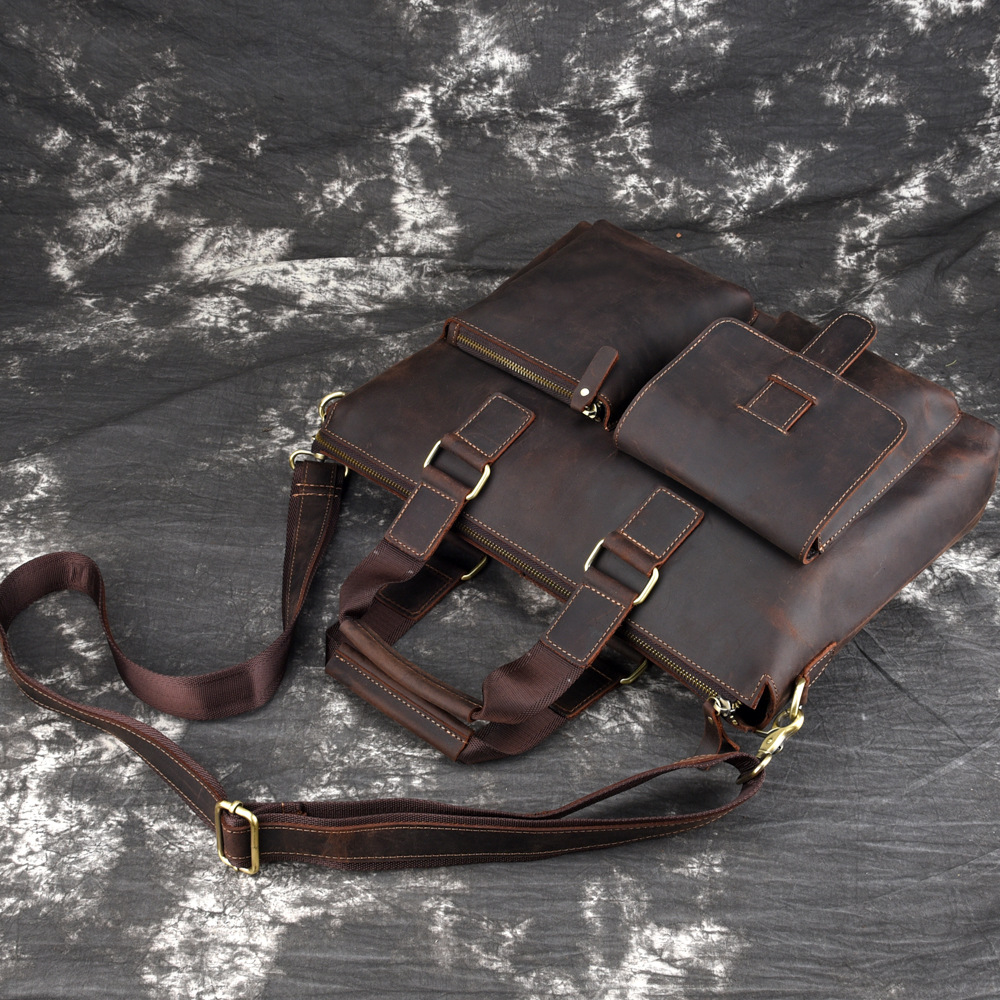 Crazy Tasche Schulter Brown A4 Ipad lighter Leder Dicke Echtem Crossbody Horse Männer Dark Brown Umhängetasche Vintage Kuh Schule n8Cq0xT85w