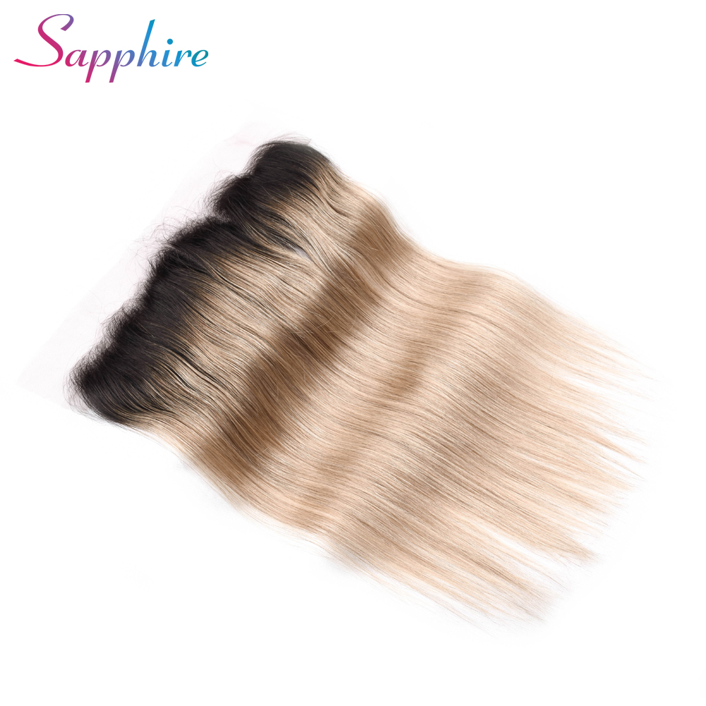 Sapphire  Straight Human Hair Ombre Brazilian Tb/27 Lace Frontal 13x4 Free Part 8-20 inch Remy Hair Extensions Free Shipping