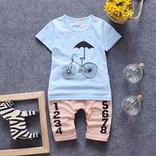 2016 New Romantic Printing Umbrella With Bike Shorts Suit Cute Baby Boys Cool Summer Sets
