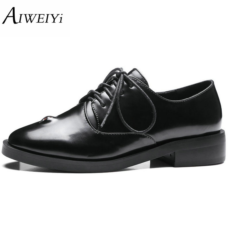цены  AIWEIYi Women Oxfords Shoes Round toe Square Low Heel Shoes Lace up Black Platform Pumps Shoes for Women Size 34-43