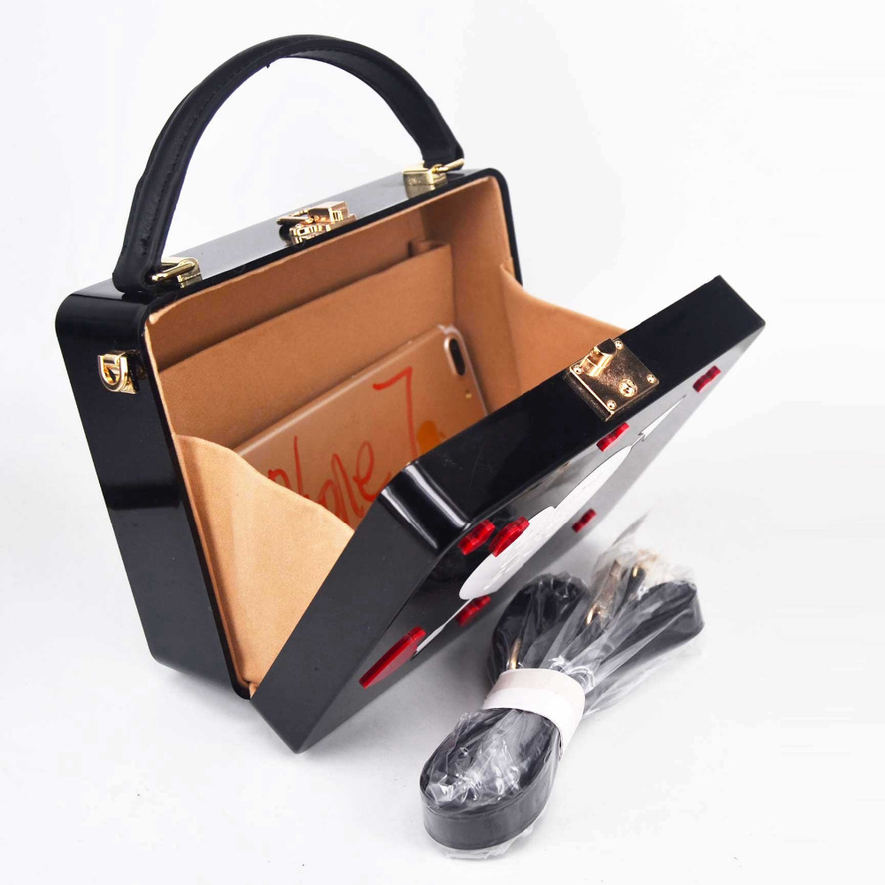 Ladies Box Shape Clutch Bag Women/'s Crossbody Strap Shoulder Bag
