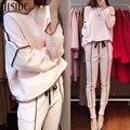 2017 Venda Quente Senhora Mulheres Treino Moletom + Calça terno de Trilha 2 Peça Conjunto Terno Esportivo para as mulheres outono terno rosa conjuntos