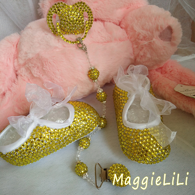 free shipping rhinestone Crystal Baby Girl's Child shoes handmade Bling Bling diamond First bead soft shoes pacifier clip chain
