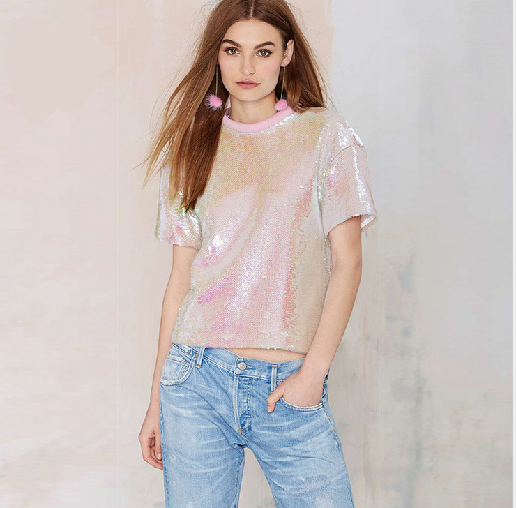 66b0708d0ec Women Tee Shirts Summer Pink Sequined O Neck Short Sleeve 2015 Unique  Design Hot Stylish Casual Loose T shirt Female streetwear-in T-Shirts from  Women s ...
