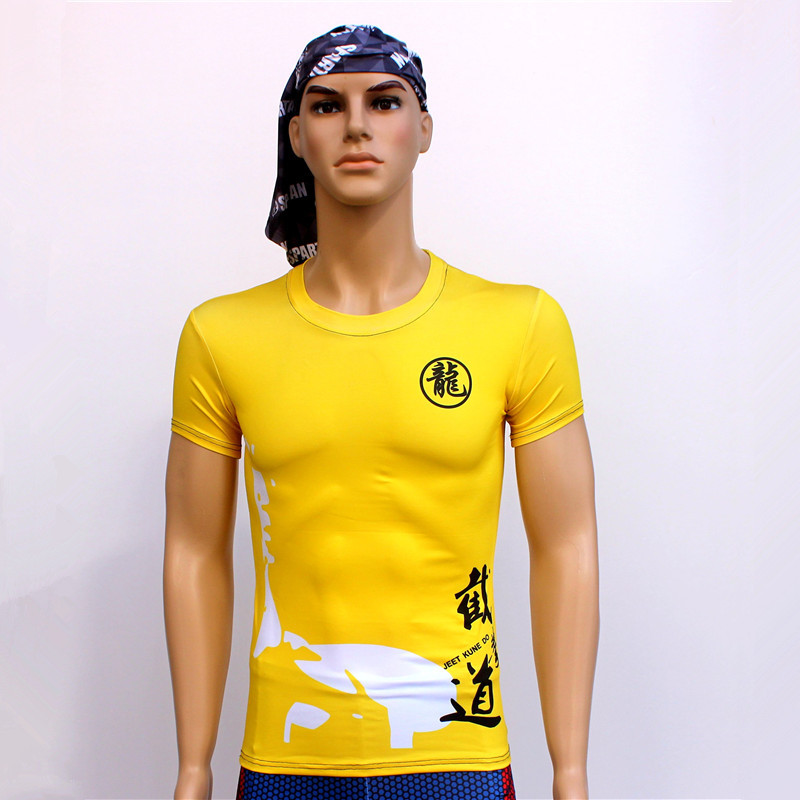 2018 New Short Yellow Quick Dry Sport T-shirt Tights Sports Wushu Bruce Lee T-shirt