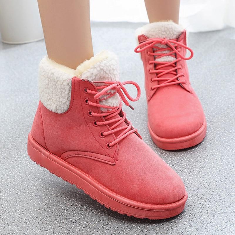 Clásico Nieve Gamuza Plantilla La Encaje Mujer Invierno Zapatos Tobillo pink Botas Caliente 2018 De Para black Piel Gray beige wftIH8