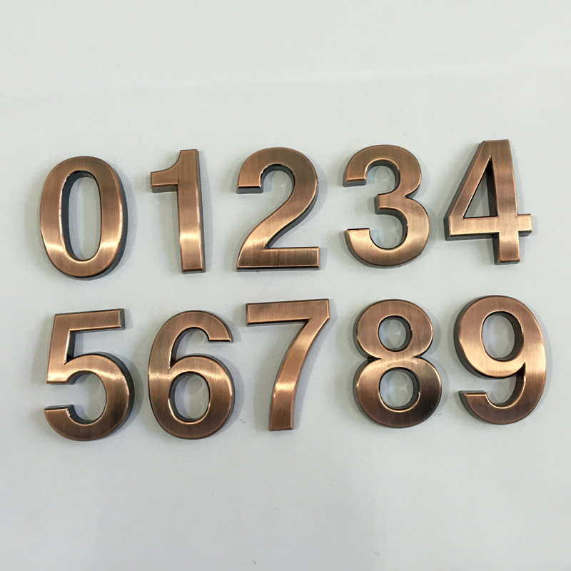 New 1PC 0-9 Bronze House Numbers 70*48*8mm Hotel Home Door ABS Plating Number Digits Sticker Plate Signs Address Plaque Hotsale