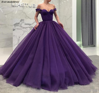 Purple Fluffy Long Quinceanera Dresses Ball Gowns Off Shoulder Sweetheart Corest Back Celebrity Party Dresses Sweet 16 Dresses