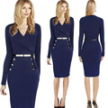 Ivanka Trump style Work Pencil Solid Full Button Knee-length Regular Natural V-neck Autumn Dresses Sexy Dress Bodycon