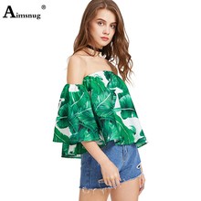 Aimsnug Womens Fashion Ruffle Top Off Shoulder Tank Half Sleeve Summer Print Slash Neck Casual Loose Blouse