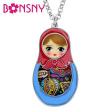 Bonsny Enamel Alloy Matryoshka Russian Doll Necklace Pendant Chain Choker Floral Ethnic Jewelry For Women Girls Teens Gift Party(China)