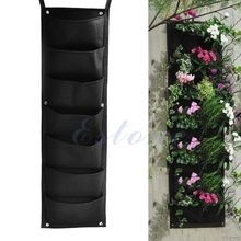 7-Pocket Indoor Outdoor Wall Balcony Herbs Vertical Garden Hanging Planter Grow Bag Y110-Dropshipping