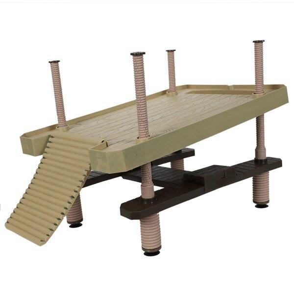 Plataforma de muelle cuadrada de tortuga grande de reptil con escalera de rampa flotante de plástico duradero de alta calidad