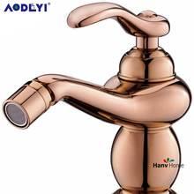 AODEYI розовый Золотой Одной ручкой латунь ванная комната золото биде кран Смеситель кран горячей и холодной воды латунь ванная комната золото биде кран