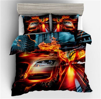 hot sell 3D Passion Burning Car Sanding Polyester DuvetCover Set 3Pcs Set Twin Full Queen King Bedding Sets housse homeornament