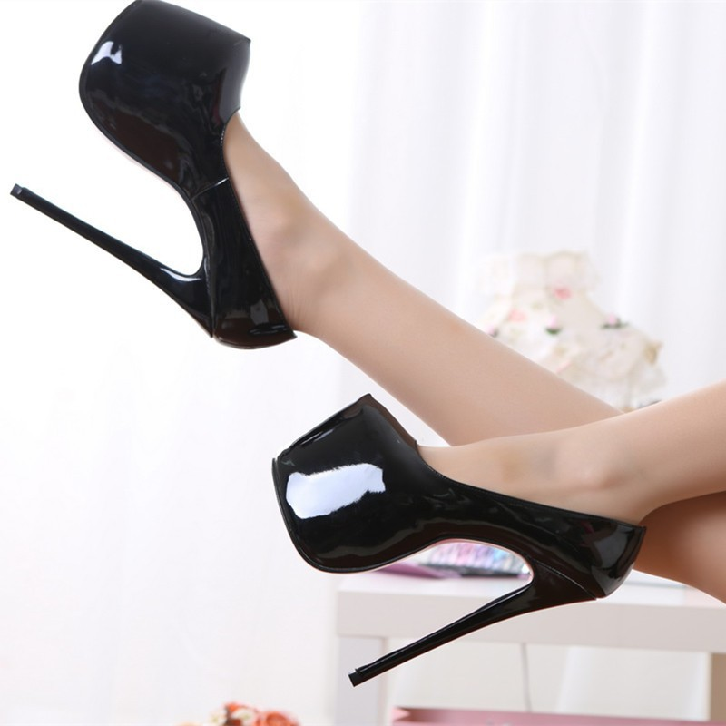 ФОТО 18CM Heel Height Sexy Round Toe Stiletto Heel Pumps Platform Party Shoes heels No.A18-1