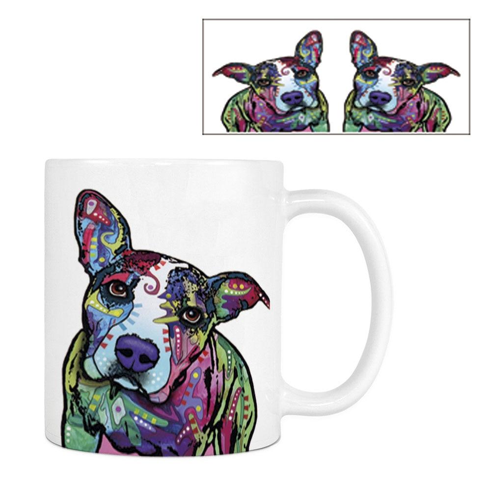 Mode Pitbull Kaffeetasse Lustiger Hund Weiß Keramik Kreative Tier - Küche, Essen und Bar - Foto 1