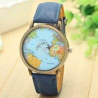 Relogio Feminino Marca de Lujo Vestido de Las Mujeres Relojes, Moda Mapa Mundial de los Viajes Por Avión Denim Tela Reloj de la Venda Mujeres Relojes Mujer