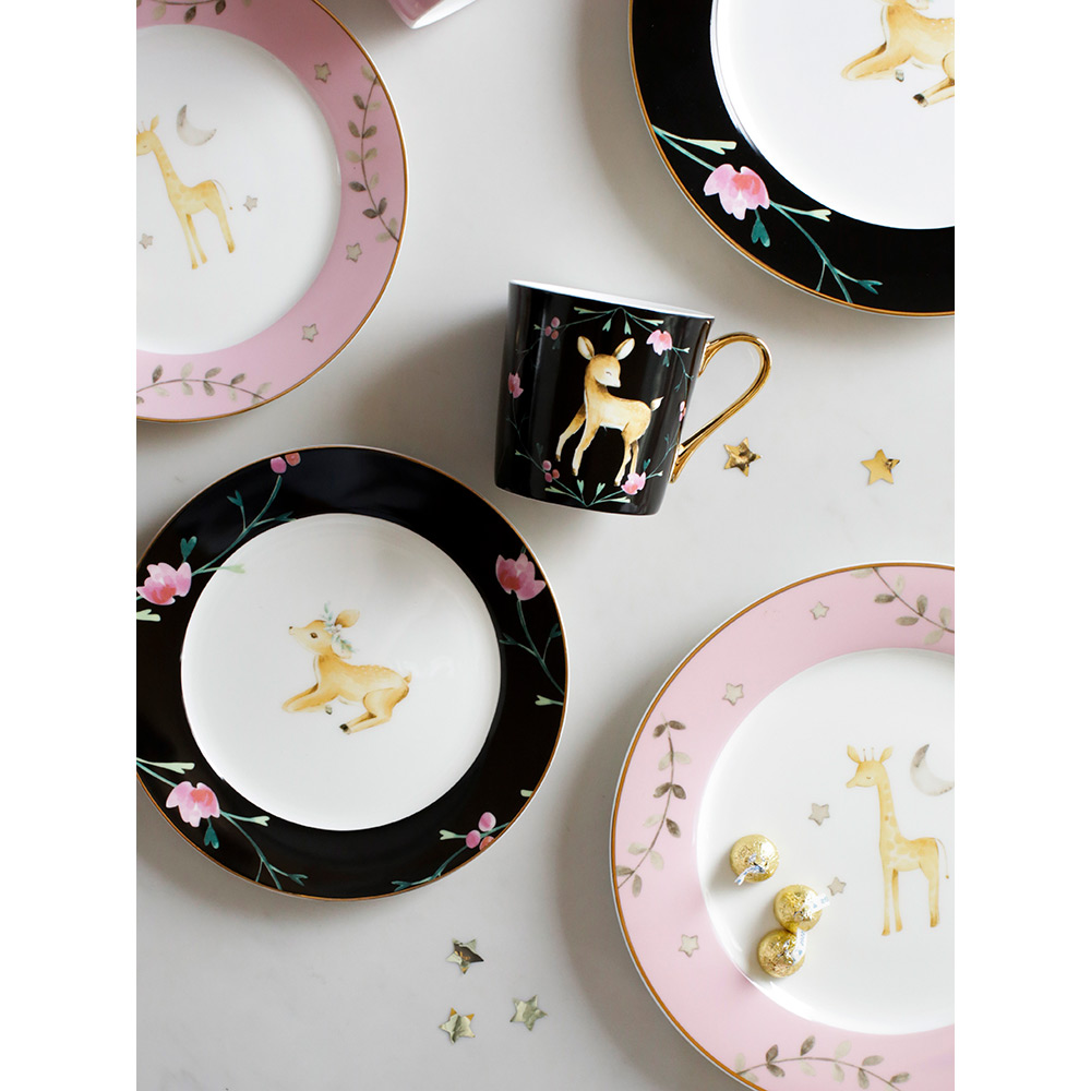 ceramic dinner plate 8inch 10 inch steak dishes and plates sets coffee mugs pink black cartoon deer on glazed printed round dish