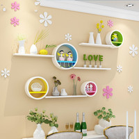 Round creative plaid paint TV background wall decoration shelf shelf partition wall shelf wall mount combination XI311611