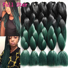 1-10Pc Crochet Braiding Hair 24″ 100g Black Teal Green Ombre Kanekalon Braiding Hair Jumbo Box Senegalese Twist Synthetic Braids