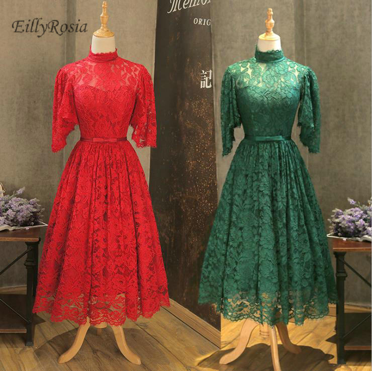 High Neck Lace   Bridesmaid     Dresses   Tea Length Green Red White Formal Women Party   Dresses   for Wedding Guest Prom Gowns abendkleide