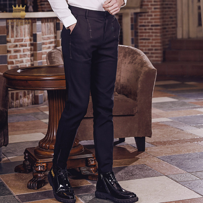 Fanzhuan Free Shipping New Pants Fashion Male Man 2018 Men's Trousers Casual Yong Embroidered Pants Black Spring 818001