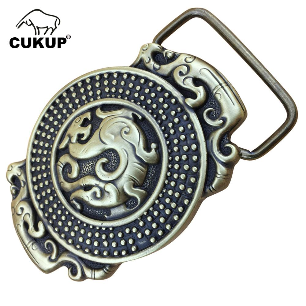 CUKUP Chinese Unique Design The Tang Dynasty Dragon Brass Buckle Metal 3.7-3.9cm Wide Belt Cowboy Buckles Only for Men BRK031