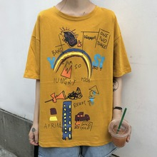 Women Summer Tshirt Graffiti Print Short Sleeve O-Neck Loose Wild Fun Short-sleeved T-shirt Personalized Cartoon