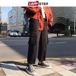 LAPPSTER Харадзюку уличная шаровары 2019 летние мужские хип хоп трико для мужчин брюки карманы японский стиль черные брюки карго