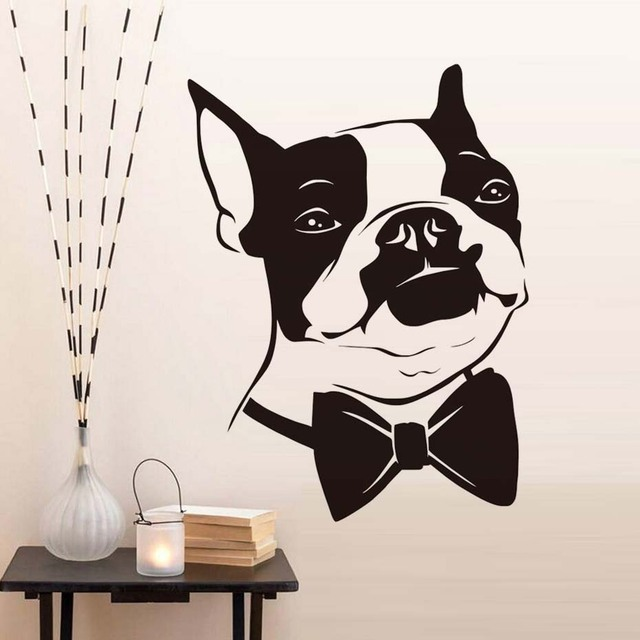Bow Tie Puppy Wall Sticker Home Decor Kids Room Wallpaper Removable Bedroom Decals Funny Boston Terrier