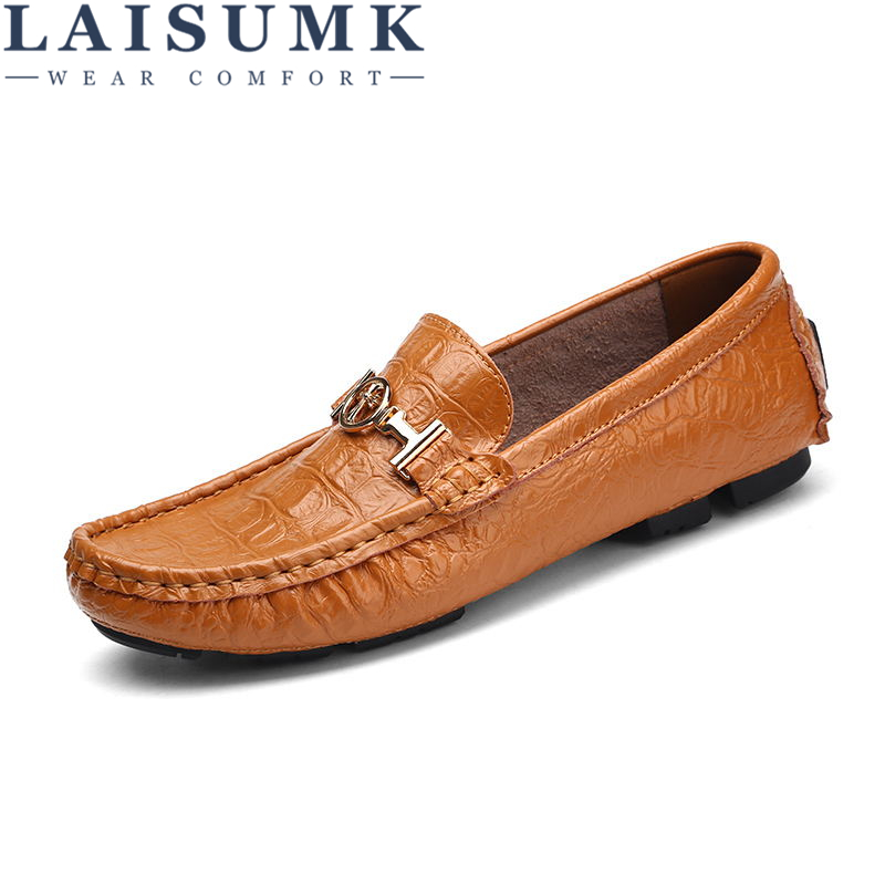 LAISUMK 2019 Summer Luxury Driving Breathable Genuine Leather Flats Loafers Men Shoes Casual Fashion Slip Large size 36-49