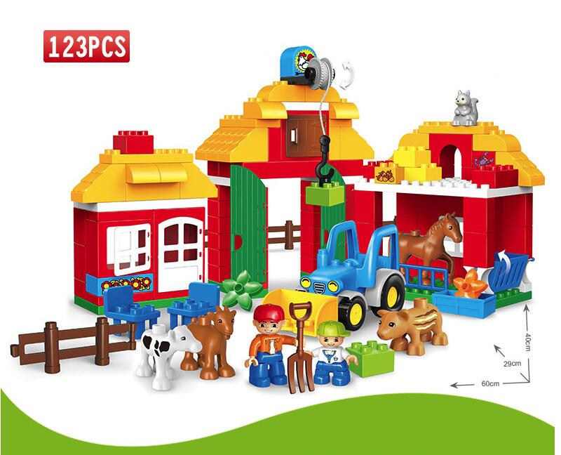 Happy Farm Happy Zoo With Animals Compatible With duploINGlys Big Size Blocks Bricks Toys For Children