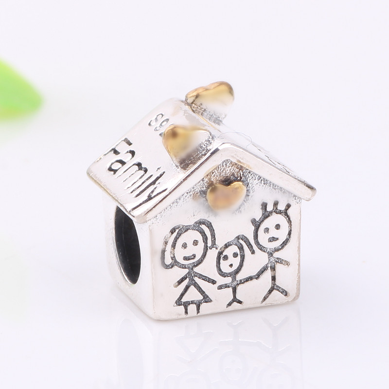 Ranqin New Authentic 925 Sterling Silver Charm Beads Family House Beads Fit Pandora Bracelet charm DIY Jewelry Gift