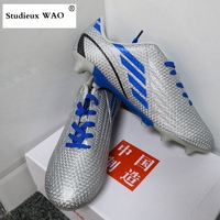 Outdoor Lawn Artificial Grass Football Shoes Men Hot Silver AG Cleats Soccer Shoes Adult Football Sneakers Kid Boy Sports Boots