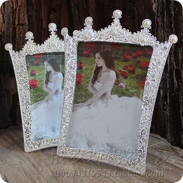 7inch Photo Frame Pearl Crown Glass Picture Frame Wedding