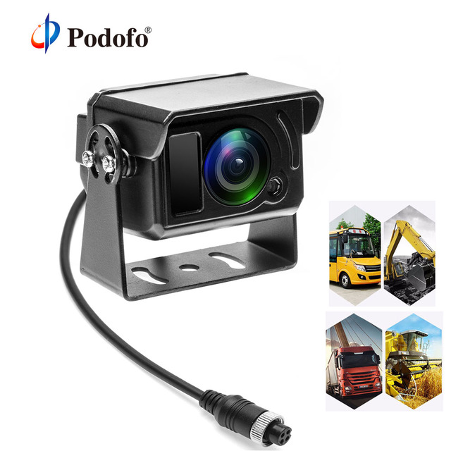 Podofo HD Back up Reverse Rearview Camera Parking System IR Cut LED Night Vision IP68 4 pin Connector For Truck Lorry Pickup Bus