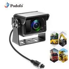 Podofo HD לגבות הפוך Rearview מצלמה חניה מערכת IR Cut LED ראיית לילה IP68 4 פינים מחבר עבור משאית משאית טנדר אוטובוס