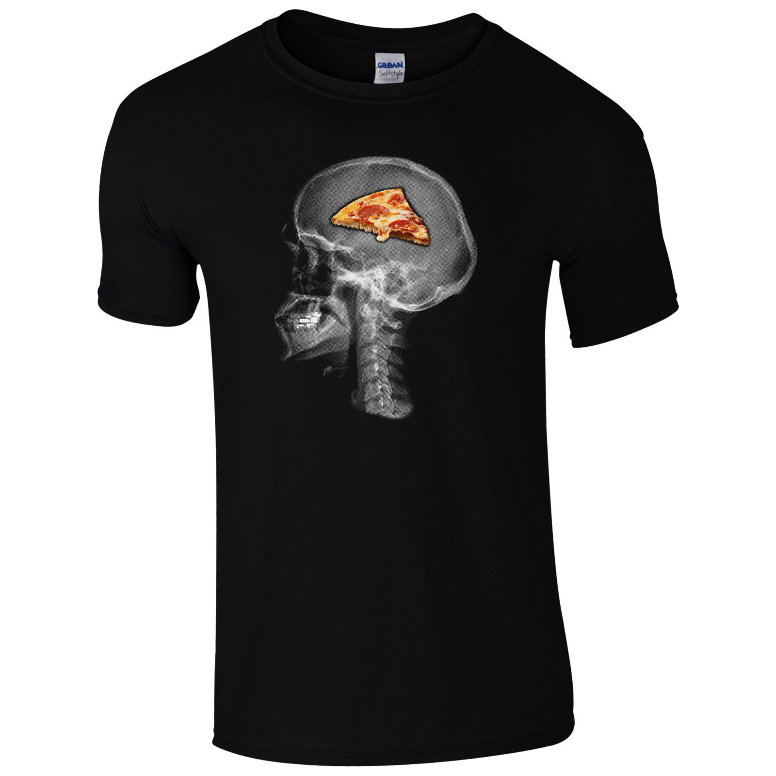 Pizza On The Brain T-Shirt - Funny Skull X-Ray Food Lovers Gift Unisex Mens Top image