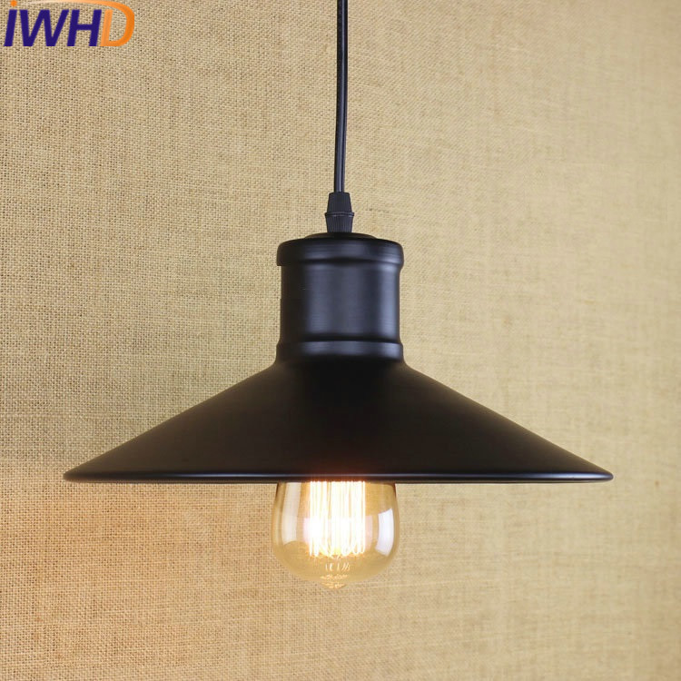IWHD Loft Style Iron Lamparas Vintage Lamp Industrial Retro Pendant Lights LED Black Dining e27 220V For Decor Home Lighting loft industrial rust ceramics hanging lamp vintage pendant lamp cafe bar edison retro iron lighting