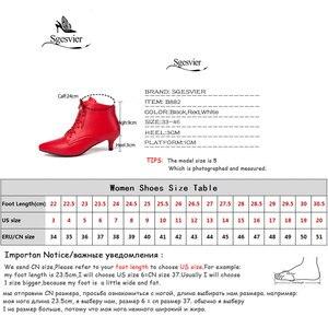 Image 5 - Sgesvier nowa moda kobiety pointed toe sznurowane med heel botki lady stałe cienki obcas krótkie buty czarny czerwony rozmiar 33 46 B882