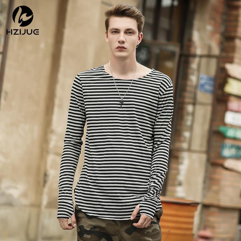 HZIJUE 2018 Män t shirts tyga hip hop swag randig långärmad t shirt utökad kanye man överdimensionerad tröja homme t-shirt herrar