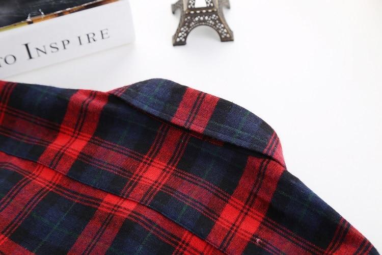 2018 Fashion Plaid Shirt Female College Style Women's Blouses Long Sleeve Flannel Shirt Plus Size Casual Blouses Shirts M-5XL 47