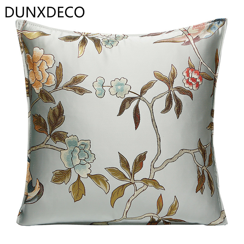 DUNXDECO Cushion Cover Decorative Pillow Case Elegant Light Blue Pink Bird Embroidery Vintage Chinese Coussin Home Sofa Decor