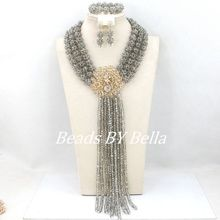 New Clear Grey Crystal Beads Balls Necklace Nigerian Wedding African Beads Jewelry Set Women Costuem Set Free Shipping ABY024